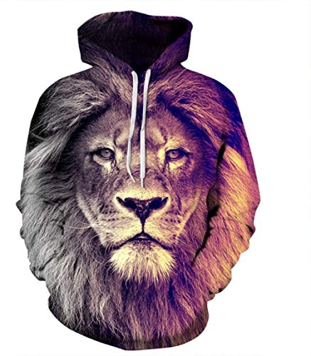 binglinshang 3D Hoodies drucken Lion Jacke Unisex Sweatshirt Casual Sweater Hoody Animal, S.