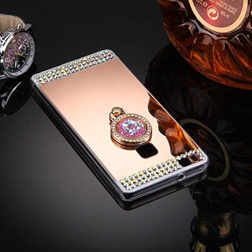 ZTH for Huawei P9 Lite Funda de Cubierta Protectora de Espejo de galvanoplastia con Incrustaciones de Diamantes con Soporte de Anillo Oculto (Dorado) (Color : Rose Gold)