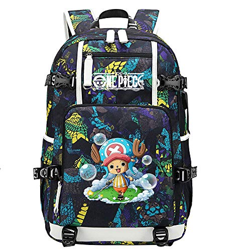 ZZGOO-LL One Piece Monkey·D·Luffy/Tony Tony Chopper Mochila de Anime Mochila de Escuela Secundaria para Estudiantes para Mujeres/Hombres con USB-E