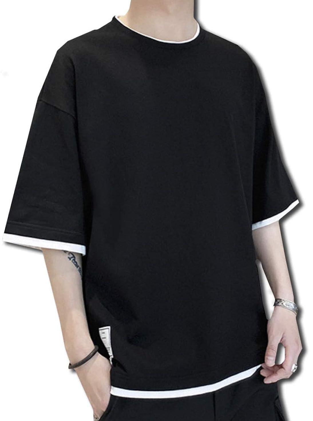 インサート正当化するイライラする[Bolso] 重ね着風 ゆったり シルエット 5分袖 Tシャツ メンズ (ブラック、ホワイト、グレー、グリーン) M ~ XXL