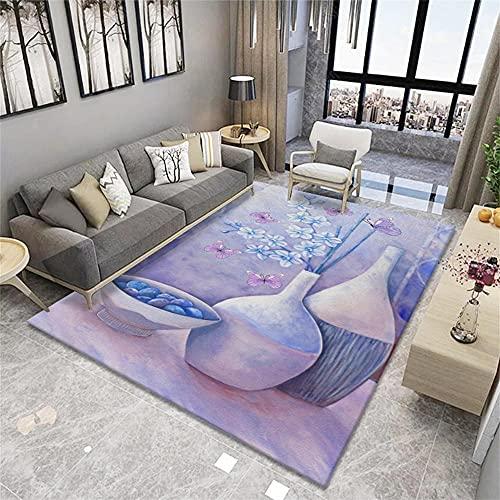 alfombras infantiles habitacion morado Alfombra de sala de estar Alfombra de salón con estampado de flores simple púrpura...