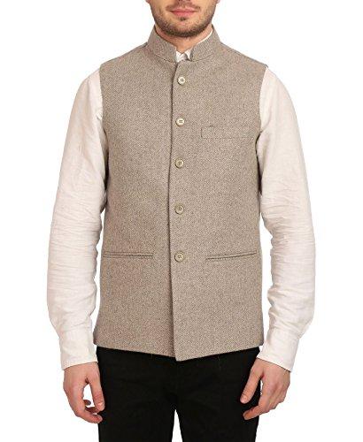 WINTAGE Men's Tweed Bandhgala Festive Nehru Jacket Waistcoat Beige