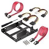 reemplazar 2.5 pulgadas a 3.5 pulgadas 2-BAY externa HDD SSD Soporte de soporte para adaptador de kit de montaje metálico con SATA Conjunto de cables de alimentación de datos conductor ( Color : Red )