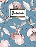 Sketchbook: Spring Flowers & Leaves Blank Sketchbook with Crisp White Pages for Drawing, Sketching, Doodling and More. Cute Extra Large XL Notebook with a Softback Cover.