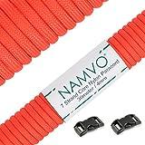 Namvo 550 Paracord Mil Spec Tipo III Cable de paracaídas de 7 Cuerdas Longitud 100 pies / 30 Metros - Rojo Naranja
