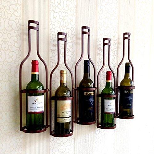 Estante de vino Colgante de pared Portavasos de vino Colgante Colgante Estante de vino Vino de hierro forjado Estante de vino 5 botellas (Color : Bronze)