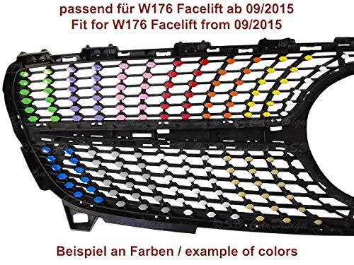 Diamantgrill Folien Sticker für Mercedes A-Klasse W176 Facelift AMG Grillaufkleber (Schwarz)