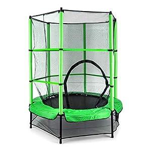 Klarfit Rocketkid cama elástica infantil (140 cm de diámetro, red de seguridad, apta para exterior o interior, peso máximo 50 kg, varillas acolchadas, gran estabilidad) - verde