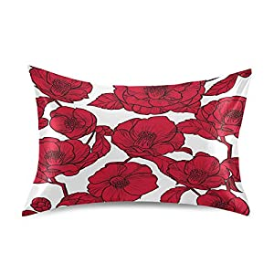 YKMustwin Satin Pillowcase for Hair and Skin Silk Pillowcase Standard Size Flowers Camellia Floral Print Pillow Cases Cooling Satin Pillow Covers with Envelope Closure