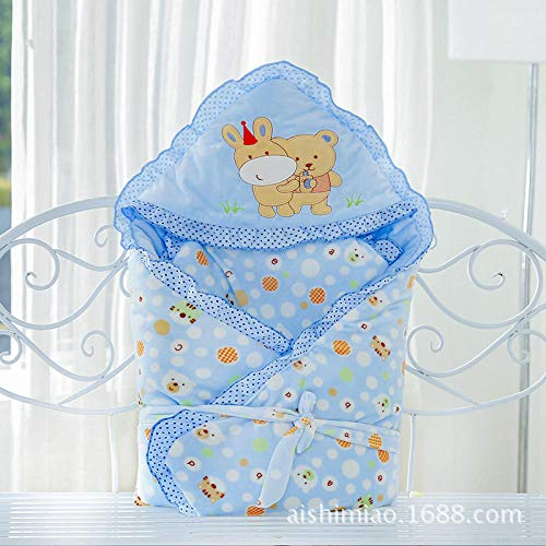 Unisex Baby Sleeping Bag 6-18 Months Thickening, Quilt, Quilt, Autumn And Winter Cartoon, Newborn, Embroidered@Blue_90*90Cm Soft And Comfortable Baby Swaddle