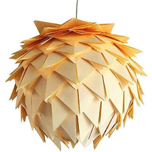 Yellow Harlekin, Ø 35cm, Papierlampe Hängelampe Lampe Lampenschirm Pendellampe Designerlampe Deckenlampe Leuchte weiß Origami AUS PAPIER + Lampenfassung E27 für LED Glühbirne