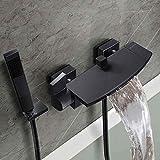 negro mate con grifo de cascada La oscuridad en la pared tipo baño de agua...