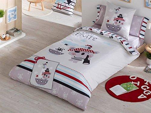Funda nórdica con dibujos de piratas para cama de 105 cm.