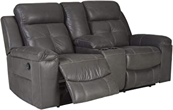 Signature Design by Ashley - Jesolo Casual Faux Leather Double Reclining Loveseat - Console - Dark Gray