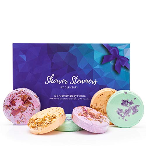Cleverfy Aromatherapy Shower Steamers  Variety Pack of 6 Shower Bombs for Mothers Day Blue Set: Watermelon Grapefruit Menthol amp Eucalyptus Peony amp Pear Cacao amp Orange Lemongrass amp Coconut