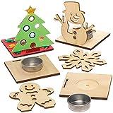 Baker Ross AX565 Weihnachtliche Teelichthalter aus Holz - 4 Stück, Festliche Kreativsets und...