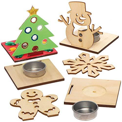 Baker Ross AX565 Weihnachtliche Teelichthalter aus Holz - 4 Stück, Festliche Kreativsets und Bastelbedarf zum Basteln und Dekorieren zur Weihnachtszeit