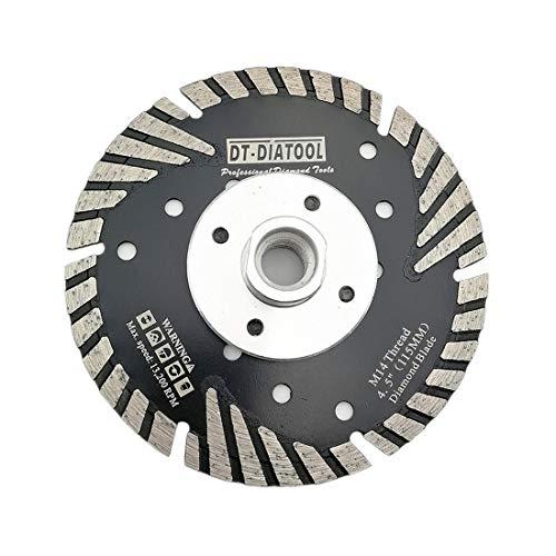 DT-DIATOOL Disco Tronzador Diamante 115 mm x M14 Hoja de Sierra Turbo con Dientes Protectores para Cortar Moler Hormigón Mármol Granito Azulejos
