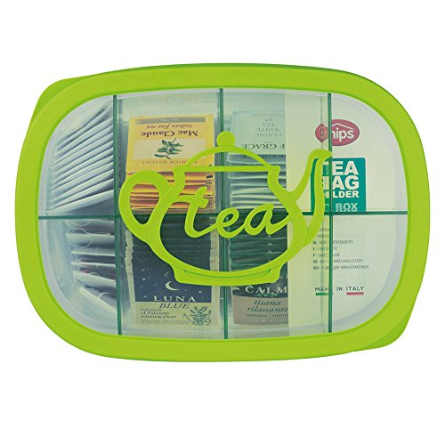 Snips, Green Tea Bag Airtight Storage Box with Removable Dividers, 11.22' x 8.07' x 1.77'