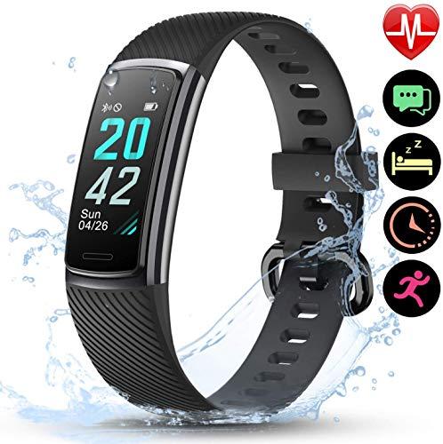 LETSCOM Unisex-Adult ID152 Fitness Tracker, Black, M