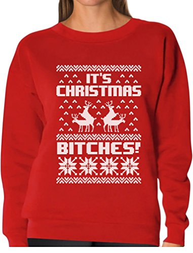 Tstars It's Christmas Bitches Ugly Sweater Humping Reindeer Funny Women Sweatshirt X-Large Red