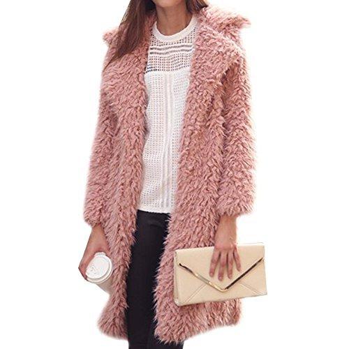 Gloria JR Womens Fuzzy Faux Lamb Fur Coat Long Jacket Notched Lapel Mid Long Coat (Small, Pink)