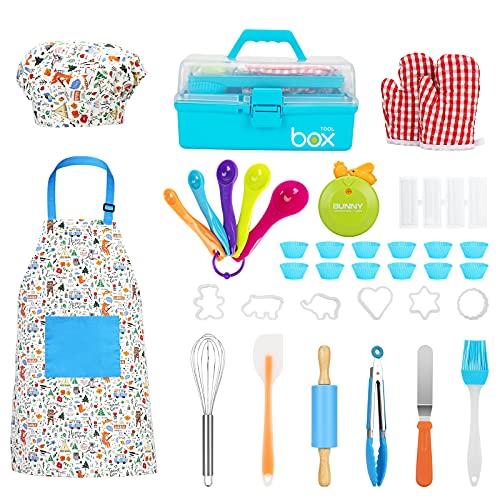 Koch- und Backset für Kinder, Geschenk – sicheres Küchenset mit Aufbewahrungsbox, 35-teiliges Kochset in voller Größe für Kinder