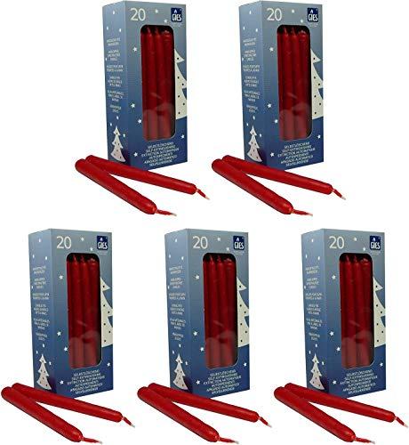 100 selbstlöschende Baumkerzen, 124 x 12 mm, Rot, handgetauchte Qualität
