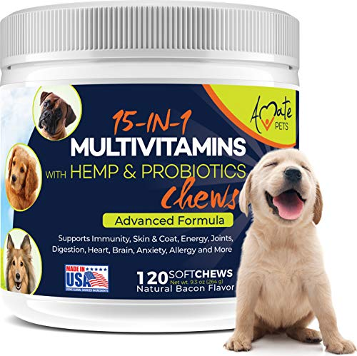 15-in-1 Dog Vitamins - Chewable Multivitamins for Dogs with Probiotics, Hemp and Omega - Hip & Joint Supplements, Immune Support and Healthy Dog Skin - 120 Soft Chews Treats by Amate Pets
