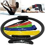 XG Inc Pilates Ring – Magic Circle Pilates Ring for Workout Everywhere –Yoga Ring for Toning Abs and Sculpting Thighs – Pilates Ring Circle. (Bonus): Elastic Bands Set.
