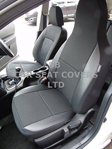Adecuado para coche Chevrolet Orlando, fundas de asiento, color negro ceniza/borde de piel