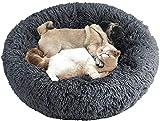 Wuudi Cama para mascotas, cama para perros y gatos, mullida, redonda, forma de Doughnut, casa para gatos con base resistente al agua, cama para perros con peluche suave, color gris oscuro