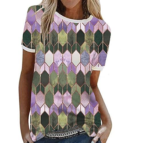 Camiseta Mujer Tops Mujer Estampado Geométrico Cuello Redondo Manga Corta Verano Suelto Y Cómodo Casual Mujer Blusa Mujer Camisas C-Purple XL