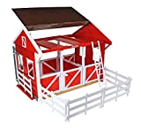 Breyer Freedom Series (Classics) Spring Creek Horse Stable Set | 15' x 9.5' x 12' | 1:12 Scale | Red and White | Model #698