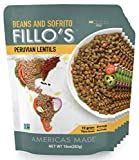 FILLO'S Peruvian Lentils, Ready to Eat Sofrito and Lentils, 6 Count, 10 Ounces Each, Seasoned With Fresh Vegetables, Microwavable, Non-GMO, Vegan, Plant Protein