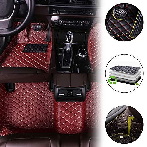 Alfombrillas Coche Personalizadas para A3 2013-2017 Sedan 3D Protección Alfombras Antideslizante de Cuero Accesorios Coche Vino Tinto 1 Juego