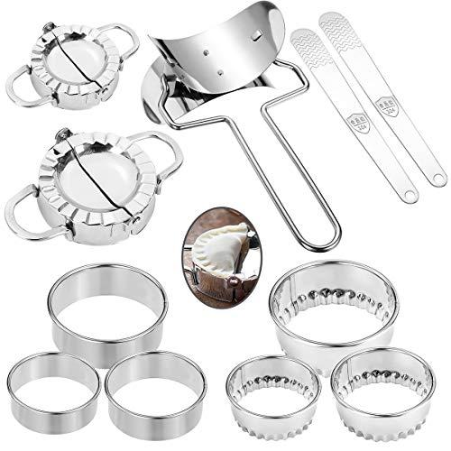11 piezas Máquina para hacer bolas de masa hervida, juego de moldes de masa de masa portátil de acero inoxidable, pizca manual de ravioles, empanadas, relleno de masa, cuchara, máquina de masa