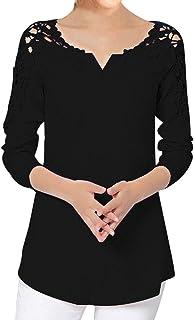 AOJIAN Blouse Women Long Sleeve T Shirt Solid Lace Splice Tees Tank Shirts Tops