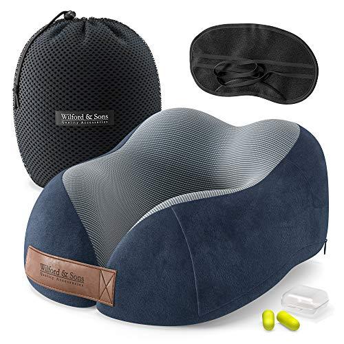Almohada de Viaje Cuello Espuma Memoria: Set con máscara de Ojos + Tapones + Bolsa de Transporte | Travel Pillow Comoda ergonomica Suave viscoelastica | Funda Lavable, Avion Tren Coche Adultos Niños