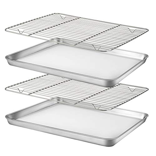 """Baking Sheet with Rack Set [2 Sheets+2 Racks], HUSHIDA Stainless Steel Cookie Sheet Pan with Cooling Rack for Oven(16"""" x 12"""" x 1"""" ), Nonstick Baking Pans Tray, Non-Toxic, Heavy Duty, Easy Clean"""