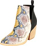 Cambridge Select Women's Western Pointed Toe Side V Cutout Chunky Stacked Block Heel Ankle Bootie,8,Multi/Black Snake 2 PU