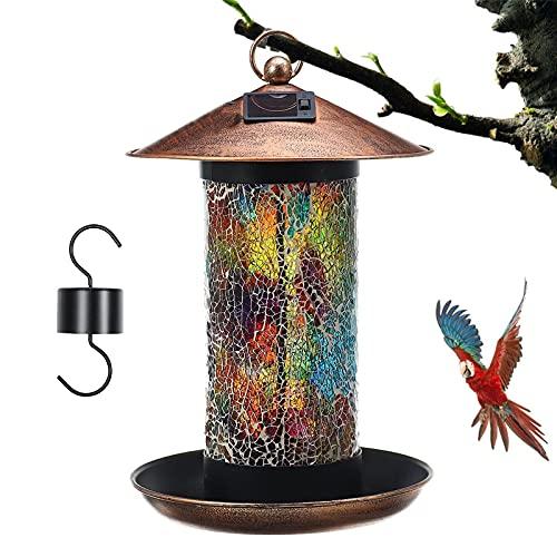 2 in 1 Vogelhäuschen Gartenlichter Körner Futtersäule Vogelhaus Zum Aufhängen Futterstation für Vögel Zum Aufhängen, Zur Ganzjährigen Wildvögel Fütterung