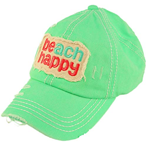 C.C Ponytail Messy Buns Trucker Ponycaps Plain Baseball Visor Cap Dad Hat Distressed Beach Happy Mint