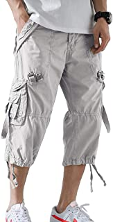 DONGD Mens Cargo Shorts Cotton 3/4 Loose Fit Below Knee Capri Cargo Short