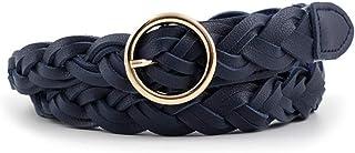 AYA Women's Braided Leather Belt | Skinny, Waist Belt for Dresses, Jeans & Skirts | O-Ring Gold Buckle Fashion Women's Belt