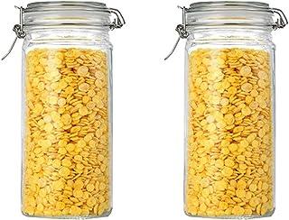 Annfly Lot de 2 bocaux en verre avec couvercles hermétiques Mason Bocaux en verre avec joint d'étanchéité en caoutchouc an...