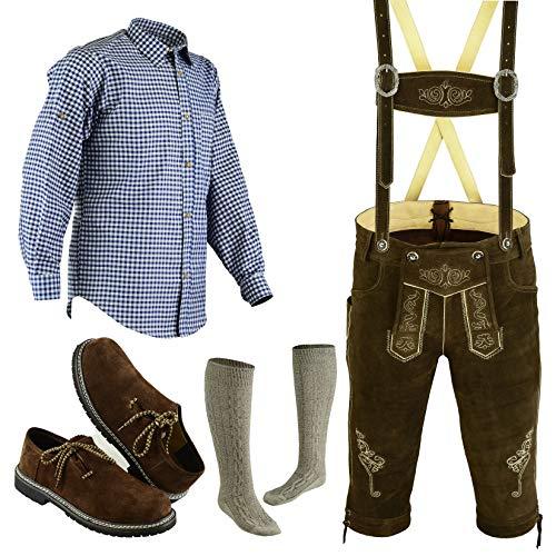 Speed4allkinds Herren Trachten Lederhose Größe 46-62 Trachten Set 5 Teilig Bayerische Trachtenlederhose,Hemd,Schuhe,Socken (Hose 60, Schuhe 46)