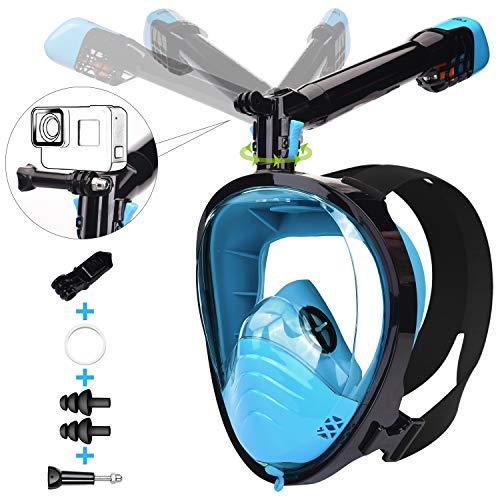 LEMEGO Máscara de Buceo Adulto Mascara Snorkel 180° Panorámica con Snorkel Giratorio 360 ° Anti-Niebla y Anti-Fugas Easybreath Completa Máscara Apoyo Camara Deportiva (L XL)