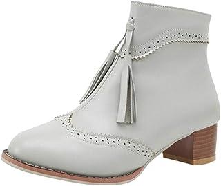 Botas de borla para mujer, NDGDA Retro antideslizante cremallera cuadrada zapatos de tacón medio