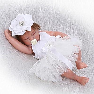 "iCradle 26cm 10"" Mini Lovely Cute Realistic Lifelike Full Silicone Vinyl Body Sleeping Reborn Baby Doll Girl for Kids Birthday Playmate Growth Partner"